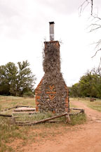 The chimney is all that remains of the original V-Bar-V ranch house. Arizona, USA. - Photo #17818