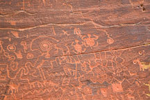 Hundreds of petroglyphs cover the rock wall at V-Bar-V Ranch. Arizona, USA. - Photo #17815