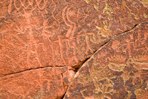Petroglyphs of sickles and human family. V-Bar-V Ranch, Arizona, USA. - Photo #17809