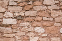 Pueblo wall made from soft porous limestone. Tuzigoot National Monument, Arizona. - Photo #17661