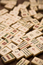 Scattered Mahjong game tiles. - Photo #17186