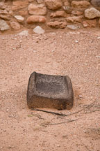 Stone metate for grinding corn. Tuzigoot National Monument, Arizona, USA. - Photo #17677