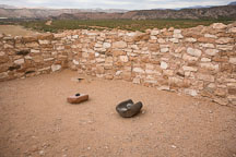 Two pairs of manos and metates for grinding corn. Tuzigoot National Monument, Arizona, USA. - Photo #17710