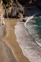 Waterfall at McWay Cove and sandy beach. Big Sur, California, USA. - Photo #17064