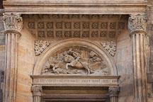 Relief of Saint George wielding the sword Ascalon to slay the Dragon. Prague Castle, Czech Republic. - Photo #29719