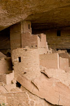 Cliff Palace was constructed out of sandstone, mortar, and wooden beams. Mesa Verde, Colorado. - Photo #18567