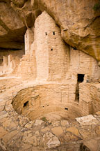 Kiva and rounded tower. Cliff Palace, Mesa Verde NP, Colorado. - Photo #18605