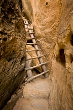 The exit to Cliff Palace is a narrow passageway between the rock face. Mesa Verde NP, Colorado. - Photo #18608