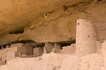 Rounded tower and storage rooms near alcove ceiling. Cliff Palace, Mesa Verde, Colorado. - Photo #18590