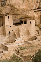 Tower and kivas at Cliff Palace. Mesa Verde NP, Colorado. - Photo #18562