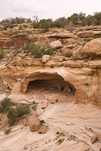 Yucca Cave ruin is located just under the cliff top. Canyon de Chelly NM, Arizona. - Photo #18413