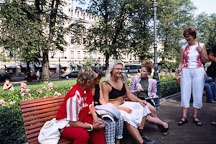 Cross-dresser and friends. Runeberg Esplanadi. Helsinki, Finland. - Photo #390
