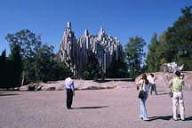 Visitors at the Sibelius Monument by Eila Hiltunen (1967). Helsinki, Finland. - Photo #334
