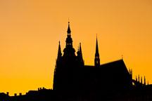 Silhouette of Saint Vitus Cathedral. Prague, Czech Republic. - Photo #29902