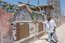 Tour guide at Watts Towers. Watts, Los Angeles, California, USA. - Photo #6802
