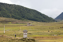 Hiker and Phobjikha Valley, Bhutan. - Photo #23820