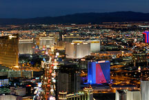 Nighttime view of Las Vegas Boulevard. Las Vegas, Nevada, USA. - Photo #13620