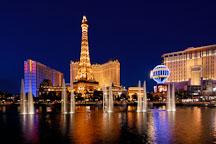 Water fountain at the Bellagio and Paris Las Vegas hotel. Las Vegas, Nevada, USA. - Photo #13320