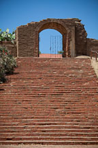 Brick steps at the Lavanderia. Mission San Luis Rey, California. - Photo #26621