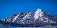 Flatirons viewed from Chautauqua meadow on a cold winter morning. - Photo #33121