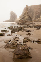 Foggy morning on Bandon Beach, Oregon. - Photo #28721