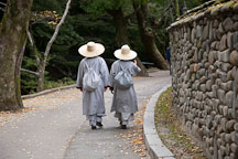 Buddhist monks follow the path through Gyeryongsan National Park in Chungcheongnam-do, South Korea. - Photo #20722