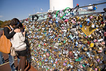 Thousands of locks of love cover the fences on the outdoor observation decks on N Seoul Tower in Seoul, South Korea. - Photo #20636