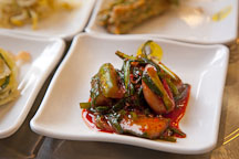 Jangajji (pickled vegetables) are an important part of Korean cuisine. They are usually made using gochu (red chili peppers). They are served as a side dish (banchan). - Photo #20867