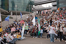 At one of many peaceful demonstrations outside Seoul Station, these citizens were advocating for the rights of disabled students. - Photo #20073
