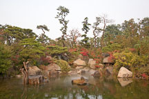 This pond, located on the grounds of the National Museum of Korea, features a small waterfall. - Photo #20356