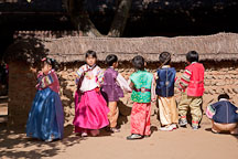 School children visiting the Korean Folk Village dress up in traditional Korean clothing, called hanbok. - Photo #20417
