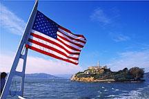 US Flag and Alcatraz. San Francisco, California. - Photo #722