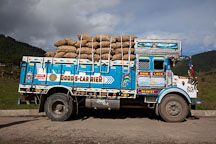 Truck loaded with potatoes. Phobjikha Valley, Bhutan. - Photo #23722