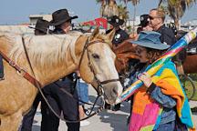 Woman admires a police horse. Venice, California, USA. - Photo #7422