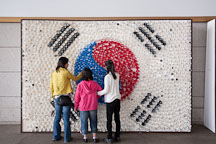Korean flag (Taegukgi) made from cups. Independence Hall, Cheonan. - Photo #21399