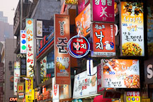 Signs for restaurants, bars and noraebangs (karaoke rooms) line the streets of the popular Myeong-dong district of Seoul. - Photo #21154