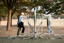 Two women use exercise equipment in Seoul's Olympic Park. - Photo #21681