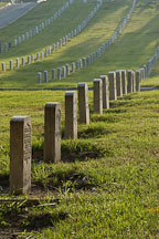 Row of gravestones. Los Angeles National Cemetery. Los Angeles, California. - Photo #3323