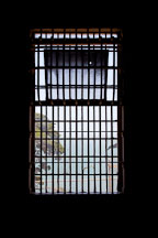 Barred window in the dining room. Alcatraz prison, California. - Photo #22134