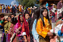 People waiting in line for a blessing at Thimphu Tsechu. Thimphu, Bhutan. - Photo #22662