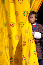 Boy looking out from behind curtains. Thimphu tsechu, Bhutan. - Photo #22462