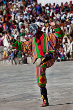 Clown entertaining the audience before the religious dances. Thimphu tsechu, Bhutan. - Photo #22447