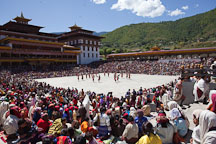 The dances at the Thimphu tsechu take place in the courtyard of the Tashi Chhoe Dzong. Thimphu, Bhutan. - Photo #22630