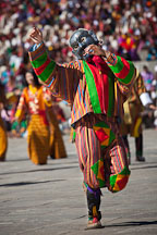 Dancing clown at the Thimphu tsechu festival. Thimphu, Bhutan. - Photo #22455