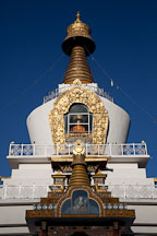 First morning's light on the top of the National Memorial Chorten. Thimphu, Bhutan. - Photo #22862