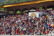 Large crowd of Bhutanese people watching the Thimphu tsechu festival. - Photo #22544