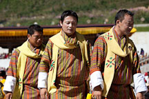 Three male dancers from the Royal Academy of Performing Arts. Thimphu tsechu, Bhutan. - Photo #22470