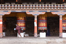 Man spinning prayer wheel. National Memorial Chorten, Thimphu, Bhutan. - Photo #22833