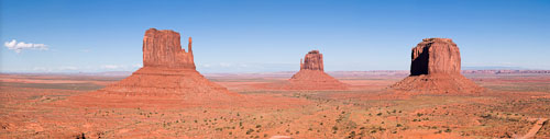 Panorama of the Mittens and Merrick Butte. Monument Valley, Arizona. - Photo #22101