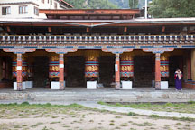 Row of prayer wheels at the National Memorial Chorten in Thimphu. - Photo #22830